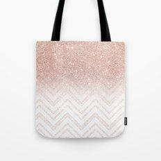 Modern faux rose gold glitter ombre modern chevron stitches pattern Tote Bag