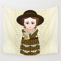 virginia Wall Tapestries featuring Kokeshi Virginia Woolf by Pendientera