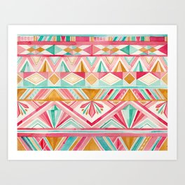Spring Gems // Pink Gold and Turquoise Geometric Pattern Art Print
