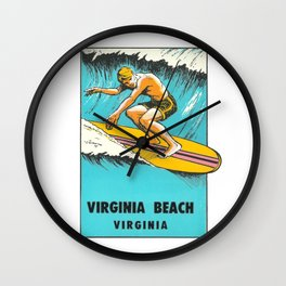 Virginia Beach Retro Vintage Surfer Wall Clock