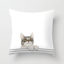Curious cat looking up Throw Pillow
