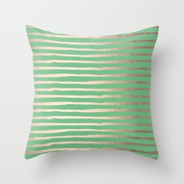 Abstract Stripes Gold Tropical Green Throw Pillow