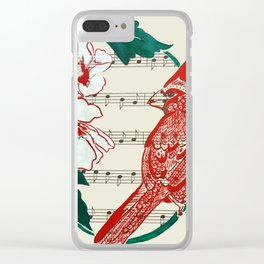 The Birds Chorus  ( Cardinal and Rose of Sharon) Clear iPhone Case