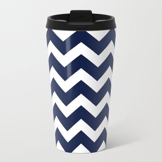 Indigo Navy Blue Chevron Metal Travel Mug