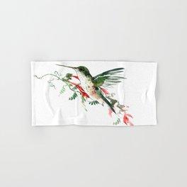 Hummingbird, Flying Hummingbird minimalist art, design watercolor design Hand & Bath Towel