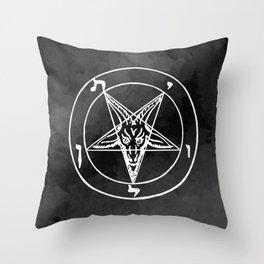 Satanic Pentagram - Black Watercolor Throw Pillow