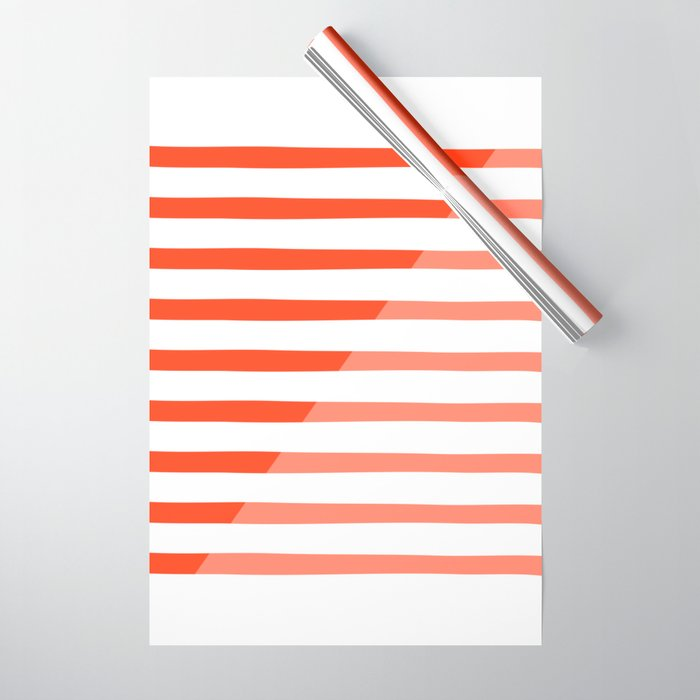 Beach Stripes Red Pink Wrapping Paper