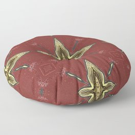 Gold Four-Pointed Nautical Star on Vivid Auburn / Red Background Floor Pillow