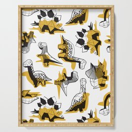 Geometric Dinos // non directional design white background yellow mustard dinosaurs shadows Serving Tray