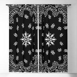 black and white bandana pattern Blackout Curtain