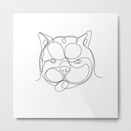 French Bulldog Head Continuous Line Metal Print