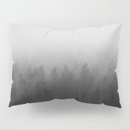 fog forest landscape photography - trees and clouds black and white   Pillow Sham
