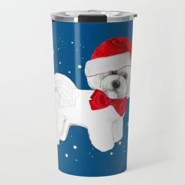 Bichon Frise red christmas holiday themed pattern print pet friendly dog breed gifts Travel Mug