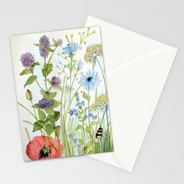 Floral Watercolor Botanical Cottage Garden Flowers Bees Nature Art Stationery Cards