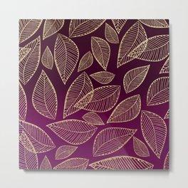 Chic burgundy watercolor gradient gold glitter foliage Metal Print