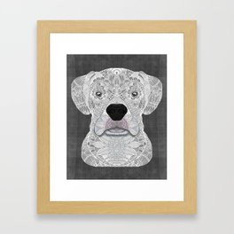 White Boxer Framed Art Print
