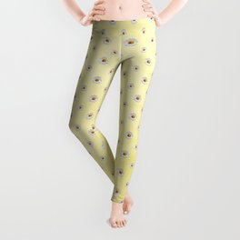 Daisies in love- Yellow Daisy Flower Floral pattern with Ladybug on #Society6 Leggings