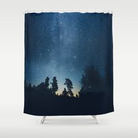 astronomy Shower Curtains featuring Follow the stars by HappyMelvin