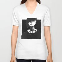 contemporary V-neck T-shirts featuring Contemporary Black and White Collar  by Ben Geiger