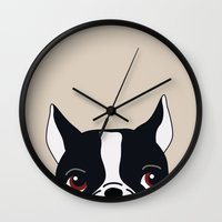 frenchie Wall Clocks featuring Frenchie by Darish
