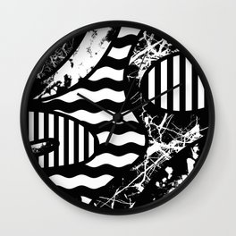 Curvy Contrast - Black and white stripes, waves, marble and paint splats abstract artwork Wall Clock