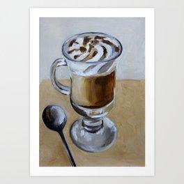Coffee latte, original oil painting, art Art Print
