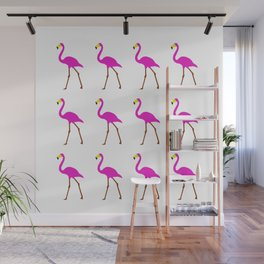 Pink Flamingos on white Wall Mural