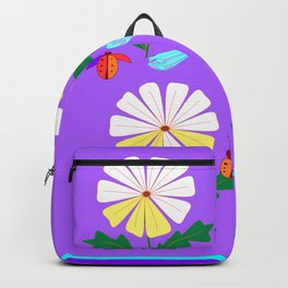 White Spring Daisies, Dragonflies, Lady Bugs lavender Backpack