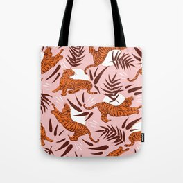 Vibrant Wilderness / Tigers on Pink Tote Bag