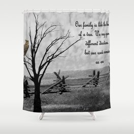 Great Horned Owl Bird with Family Quote Modern Country Art A570 Shower Curtain