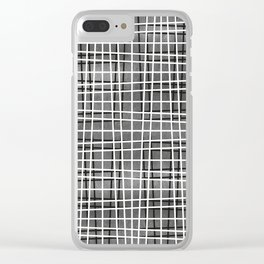 Gray crosshatch pattern. Clear iPhone Case