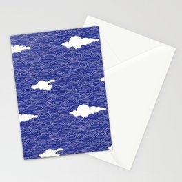 All up in the clouds, blue Stationery Cards