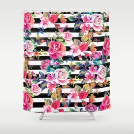 Cute spring floral and stripes watercolor pattern Shower Curtain