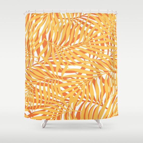 Summer Tropical Palm Leaves Pattern, Yellow, Orange Shower