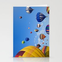 hot air balloons Stationery Cards featuring Vibrant Hot Air Balloons by Nicolas Raymond