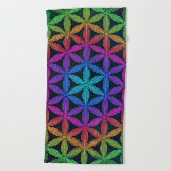 The Flower of Life (Sacred Geometry) 4 Beach Towel