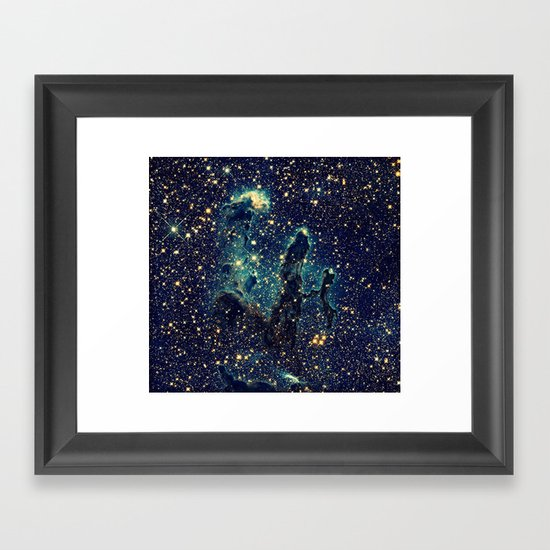 pillars of creation galaxy teal blue gold framed art. Black Bedroom Furniture Sets. Home Design Ideas