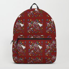 Bird and Fish Skeletons on Bed of Flowers Backpack