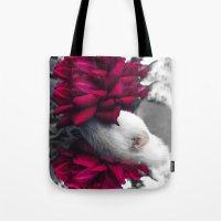 ferret Tote Bags featuring Rosy Ferret by Clara J Aira