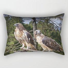 Pair of Red-tail Hawks Rectangular Pillow