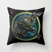pacific rim Throw Pillows featuring Knifehead - Pacific Rim by Leamartes