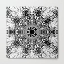 Blac White Mandala Abstract Metal Print