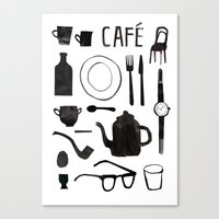 cafe Canvas Prints featuring Cafe by The Printed Peanut