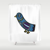 pigeon Shower Curtains featuring pigeon by Rose Lee