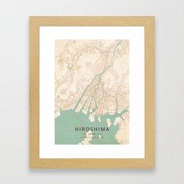 Hiroshima, Japan - Vintage Map Framed Art Print