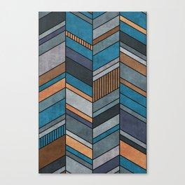 Colorful Concrete Chevron Pattern - Blue, Grey, Brown Canvas Print