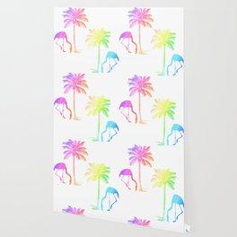 Flamingo Tropical Palm Trees Rainbow Wallpaper