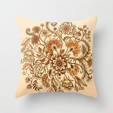 Jacobean Inspired Floral Doodle in Neutral Woodland Colors Throw Pillow