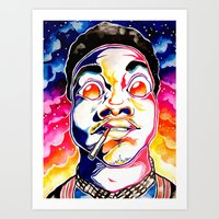 chance the rapper Art Prints featuring Chance The Rapper  by Clara Bacou