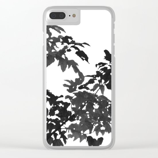 Leaves Silhouette - Black & White Clear iPhone Case